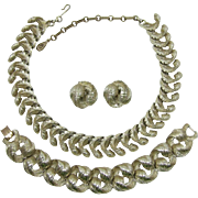 Lisner Curling Feather Necklace, Bracelet and Earrings Set