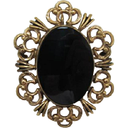 Beautiful Winard Gold-Filled and Onyx Pin