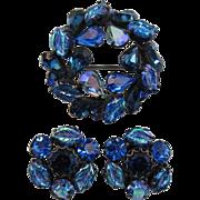 Regency Blue and Blue AB Leaf Brooch and Earring Set