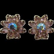 Weiss Lavender and AB Rhinestone Flower Earrings