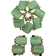 Beautiful Mint Green Frosted Cabochon Brooch and Earring Set
