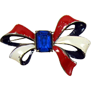 REDUCED LAST CHANCE - Shabby Chic Patriotic Enameled Bow Brooch with Blue Rhinestone