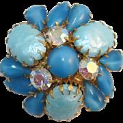Aquamarine Pearl and Teal Moonstone Cabochon Brooch