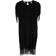 REDUCED 1980's Vintage Nite Line Silk Black Beaded Party Dress