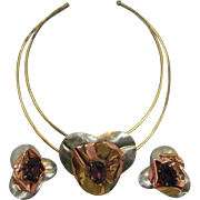 Fabulous Free-Form Mixed Metals Necklace and Earrings with Purple Rhinestones