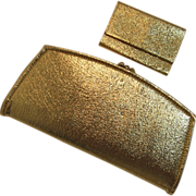 SOLD Gold Lame' Clutch - Wallet with Key Folder