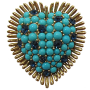 Trifari Heart Brooch with Turquoise Cabochons and Sapphire Rhinestones