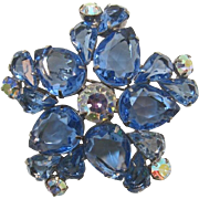 D&E Juliana Large Unfoiled Pear-Shaped Blue Rhinestone Brooch