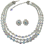 Hobe' Three Strand Aurora Borealis Crystal Necklace and Earrings