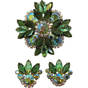 DeLizza and Elster Juliana Green Tiered Maltese Cross Brooch and Earrings