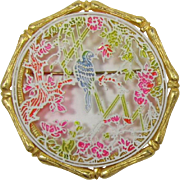 Jan Max Bamboo Frame Brooch with Delicate Jungle Scene