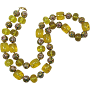 Chunky Bright Yellow and Cloissone Enameled Flower Beads Necklace