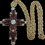 Large Purple and Opaline Rhinestone Cross Necklace