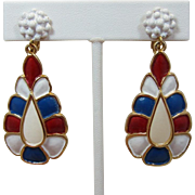 REDUCED LAST CHANCE - Hollycraft Patriotic Red, White and Blue Enamel Dangling Earrings - Rare