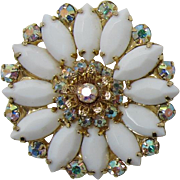 DeLizza and Elster aka Juliana White Milk Glass Navette Flower Pin