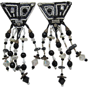 Modernist Black and White Long Dangling Beaded Earrings