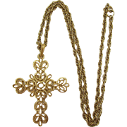 Crown Trifari Gold-tone Cross Pendant Necklace