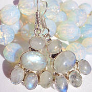 SOLD Large 12mm Faceted Opalite Bead Necklace & Moonstone Earring Set