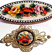 SOLD 2 Micro Mosaic Floral Pin/Brooches from Italy