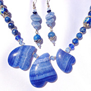 SOLD Clearance-3 Blue Agate Heart Necklace & Earring Set
