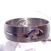 SALE Mens Tribal Puzzle Ring, Stainless Steel, Size 14