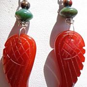 SOLD Carnelian Carved Angel Wing Earrings