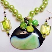 SALE Seafoam Green & Black Agate Druzy Necklace & Lampwork Bead Earring Set