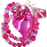 SALE CLEARANCE--Pink Agate Heart Necklace & Earring Set