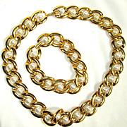 SALE Vintage Napier Goldtone/Faux Pearl Set