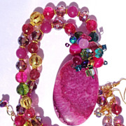 SOLD Fuchsia Drusy with Multi Colored Veined Agate Necklace & Earring Set