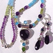 SOLD Amethyst, Sapphire & Peridot  Necklace & Earring Set
