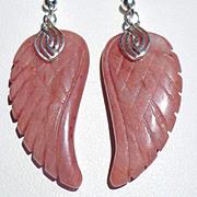 SOLD Angel Wing Rhodochrosite Earrings