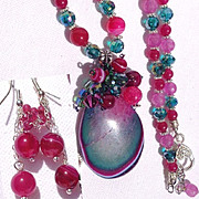 SALE Fuchsia/Teal/Purple Druzy on Ruby, Agate/Crystal Necklace/Earring Set