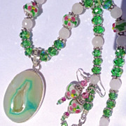 SALE Teal Green & White Druzy with Murano Lampwork Beads & Crystal Necklace & Earr