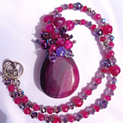 SOLD CLEARANCE:  Fuchsia Drusy with Rubies/Crystal Necklace