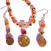 SALE 3 Pc. Golden Druzy & Crystal Necklace, Earring & Ring Set