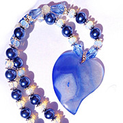 SALE PENDING Blue Heart Druzy, Opalite/Shell Pearl Necklace