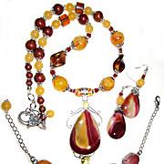 SALE Mookaite/Citrine Necklace, Bracelet, Earring Set