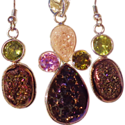 SOLD Rare, Matching Titanium Druzies with Citrine & Topaz Gemstone Pendant & Earring Set