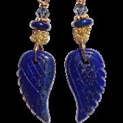 SOLD Lapis Angel Wing Earrings