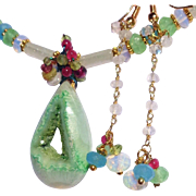 SALE PENDING Green Drusy with Chalcedony, Moonstone & Amethyst Necklace & Earring Set