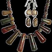 """SALE CLEARANCE; Fancy Jasper """"Bib"""" Necklace with Pearl Earring Set"""