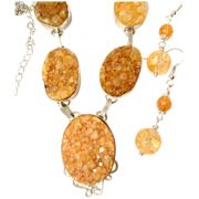 SALE Citrine Druzy Necklace/Earring Set