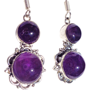 SOLD Amethyst Cabochons Earrings in Sterling Silver