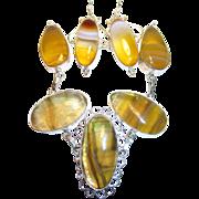 SALE Fluorite & Botswana Agate Bracelet & Earring Set