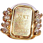 Vintage 10K Gold Bar with Diamonds Down the Sides