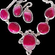 SALE Fuchsia Agate Necklace/Earring Set