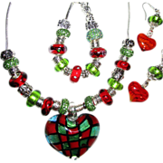 SALE 3 Piece Glass Heart with Lampwork Beads on Sterling Chain, Necklace, Bracelet/Earring Set