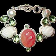 SOLD Druzy, Shell, Pearl Crystal Bracelet