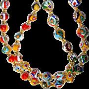 "REDUCED 28"" Vintage Art Deco Venetian Murano Millefiori Necklace"
